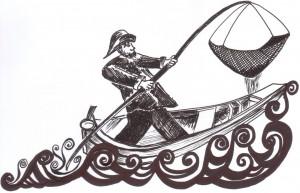 """Žvejas traukia keselį, dar vadinamą """"kiudeliu""""."""