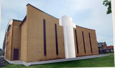 Taip turėtų atrodyti užbaigtos tvarkyti Pagėgių Šv. Kryžiaus išaukštinimo bažnyčios fasadas.