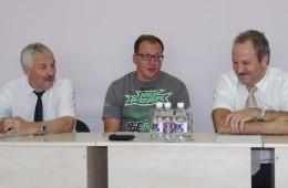 Susitikti su žiniasklaidos atstovais atvyko meras Vytautas Laurinaitis, mero pavaduotojas Algirdas Balčytis ir čempionato sumanytojas bei jo siela Marijus Budraitis (centre).