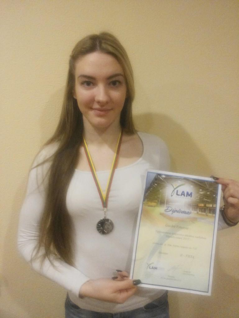 Gimnazistė Giedrė Vytuvytė uostamiestyje savo sportinių trofėjų kolekciją papildė sidabro medaliu.