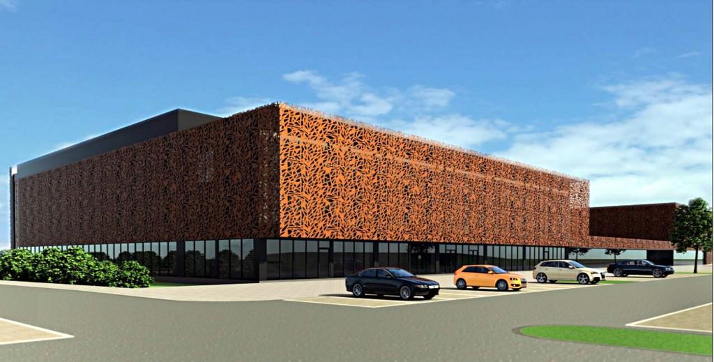 Daugiafunkcio komplekso fasadą projektuotojai siūlo padengti dekoratyvinėmis rūdijančio metalo plokštėmis.