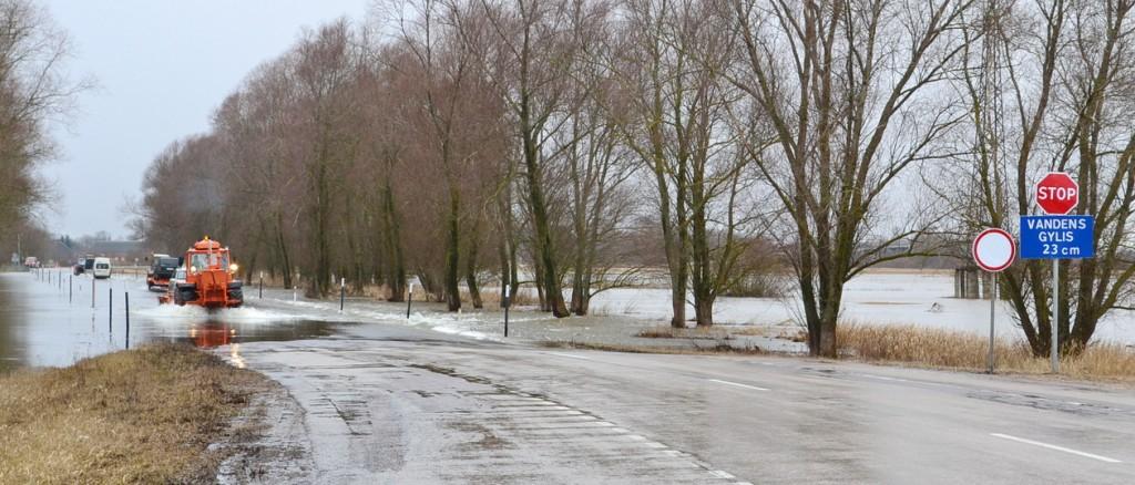 Vasario 4 d., ketvirtadienį, tiek vandens ant Rusnės kelio, kiek rodė informacinis ženklas