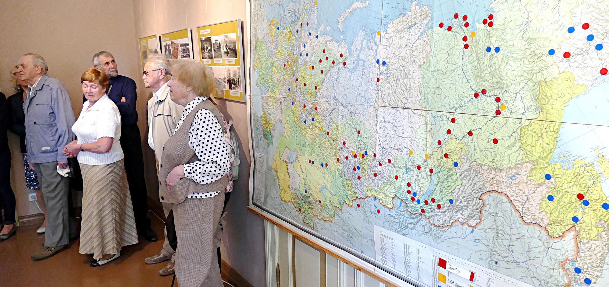 Didžiulį susidomėjimą sukėlė Sovietų Sąjungos žemėlapis su pažymėtomis tremties ir kalinimo vietomis.
