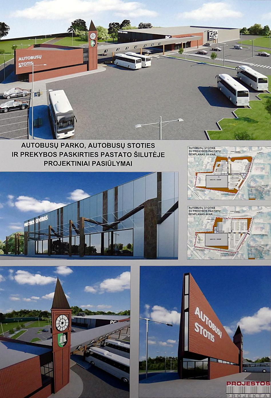 """UAB """"Projestos projektai"""" siūlo statyti apie 3000 kv. m ploto prekybos centrą, o šalia apie 200 kvadratų autobusų stotį su stiklinėmis pertvaromis, nuo vėjo ir lietaus apsaugotais peronais."""