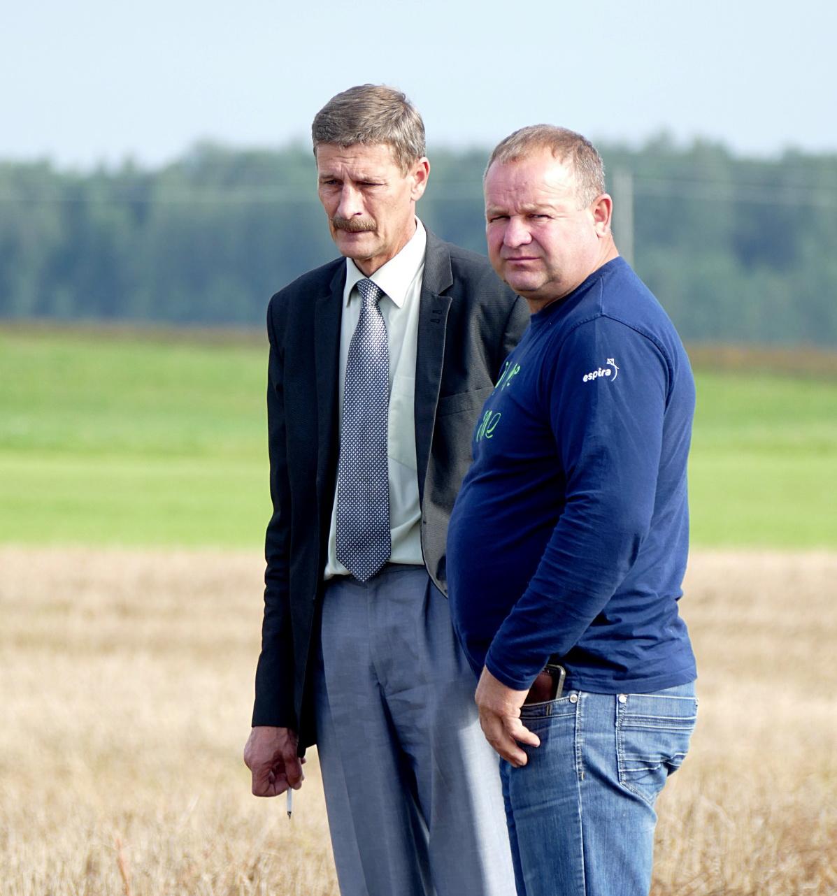Kaimo reikalų skyriaus vedėjas Povilas Budvytis (kairėje) ir Vainuto seniūnijoje ūkininkaujantis Jonas Ercius apžiūri lietaus ir paukščių nuniokotus laukus.